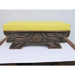 Vintage Mid Century Witco Tiki Carved Pine Bench Preview