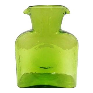 Vintage Blenko Chartreuse Jungle Kiwi Carafe Decanter Vase For Sale