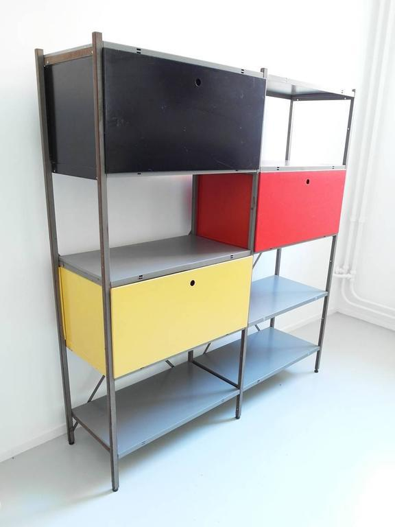 Colorful Industrial Metal Storage Cabinet By Wim Rietveld For Gispen, 1954    Image 3 Of