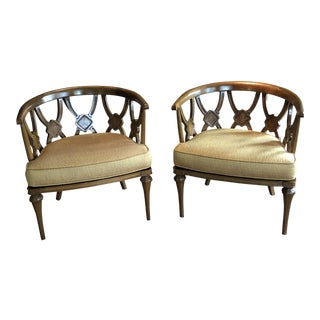 1960s Hollywood Regency Barrel Back Chairs - a Pair