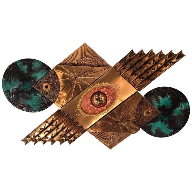 Mid-Century Brutalist Brass Wall Sculpture For Sale - Image 9 of 9