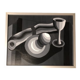 Original Contemporary Grey Scale Abstract Still Life Painting For Sale