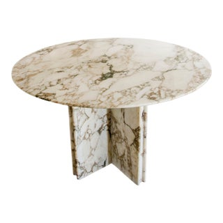 Custom Italian Marble Round Center / Dining / Gaming Table For Sale