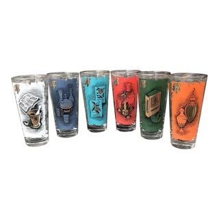 Vintage Mid Century Apothecary Rx Pharmacist Drinking Glasses - Set of 6 For Sale