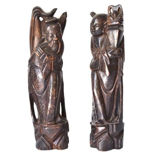 Vintage Immortal Figures With Silver Inlay, Set of Two For Sale
