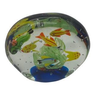 Vintage 1950s Murano Aquarium W/ Diver Paper Weight For Sale