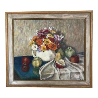 """Thomas C. Stevenson Framed Oil on Masonite Titled """"Fruit and Flowers"""" For Sale"""