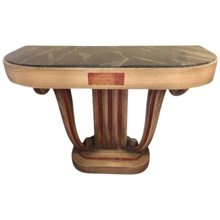 Faux Marble-Top Jansen Style Green Painted Console or Demilune For Sale