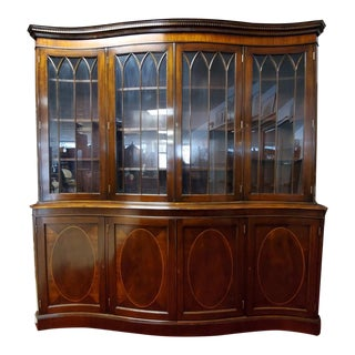 Chippendale Style Serpentine Front Breakfront Display Case For Sale
