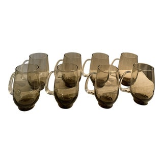 1970s Taupe Glass Barware - Set of 8 For Sale