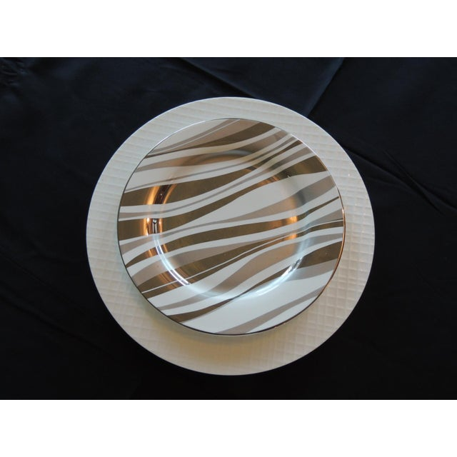 Late 20th Century Set of (4) Gold and White Porcelain Plates For Sale - Image 5 of 5