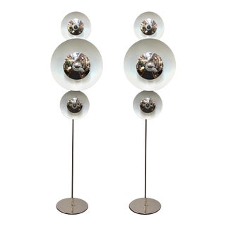 Enrico Tronconi Italian Modern Floor Lamps with Moving Discs - a Pair For Sale