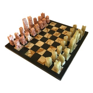 Vintage Onyx Chess Set - 33 Pieces For Sale
