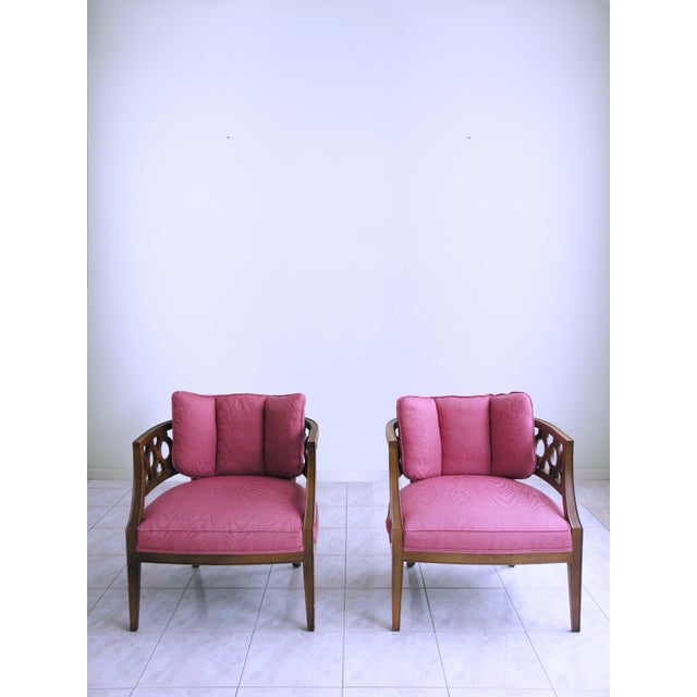 Gems of the mid century, these stylish, luxurious, and rare Lattice Back Club Chairs exude brutalist minimalism. Their...
