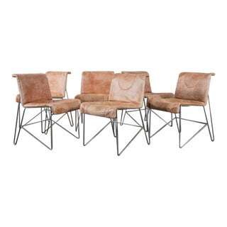 i4 Mariani Leather & Chrome Italian Modern Dining Chairs - Set of 6