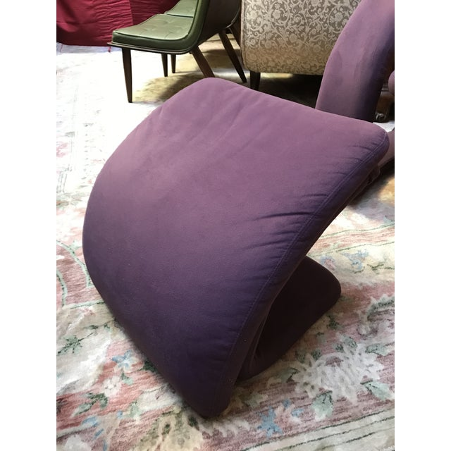 Mid Century Modern Jaymar Memphis Sculptural Cantilever Lounge and Ottoman in Purple Fabric For Sale - Image 10 of 13