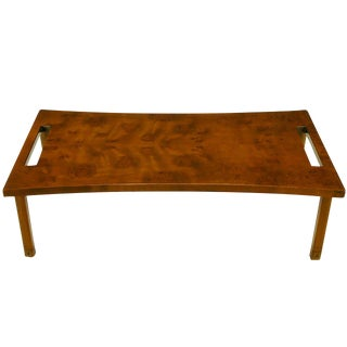 Harold Schwartz for Romweber Burled Walnut Parabolic Coffee Table For Sale