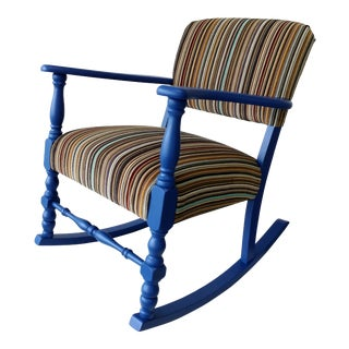 Vintage Blue with Striped Upholstery Rocking Chair For Sale