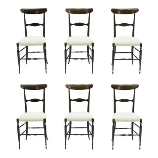 Vintage Campanino Chiavari Walnut Chairs by Fratelli Levaggi - Set of 6 For Sale