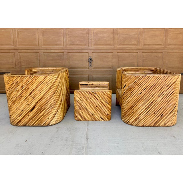 1960s Stacked Bamboo Club Chairs and Ottoman in the Manor of Gabriella Crespi - Set of 3 For Sale - Image 5 of 10