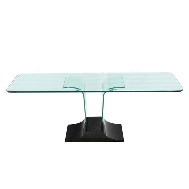 Large Bent Glass Italian Mid Century Modern Console Sofa Table For Sale - Image 4 of 8