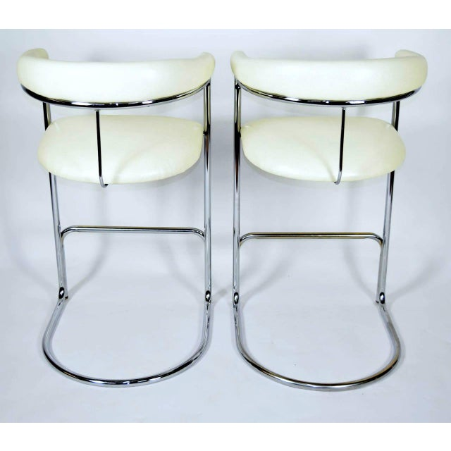 Mid-Century Modern Thonet Attributed Barstools in New Duralee Upholstery - A Pair For Sale - Image 3 of 7