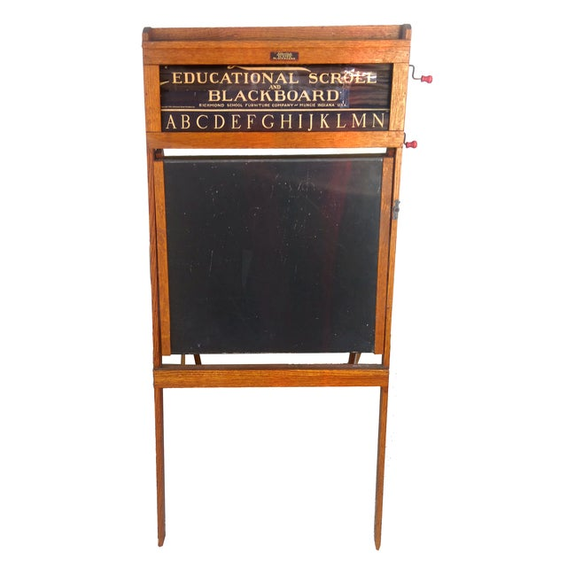 Vintage Lithoplate Slated Blackboard produced by the Richmond School Furniture company in 1938. The children's education...