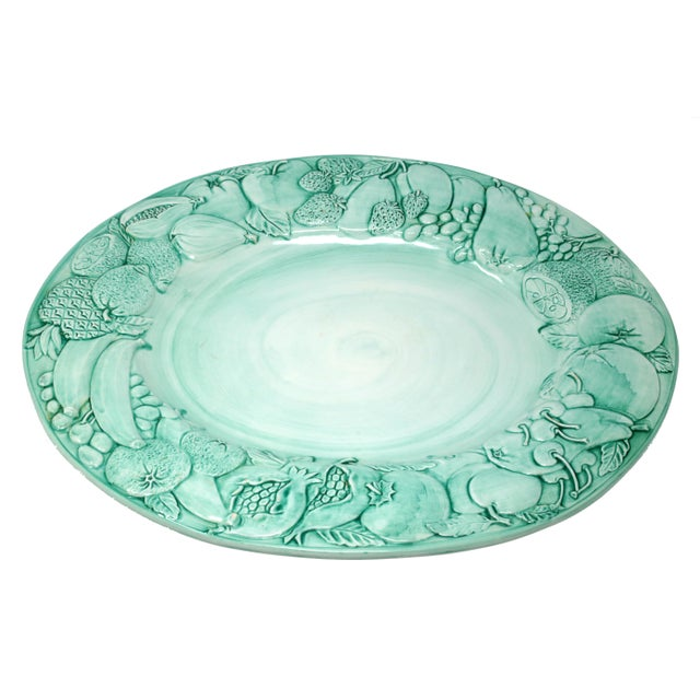 """Vintage Italian Majolica Ceramic Large 20"""" Hand-Painted Green Fruit Platter Italy For Sale - Image 13 of 13"""
