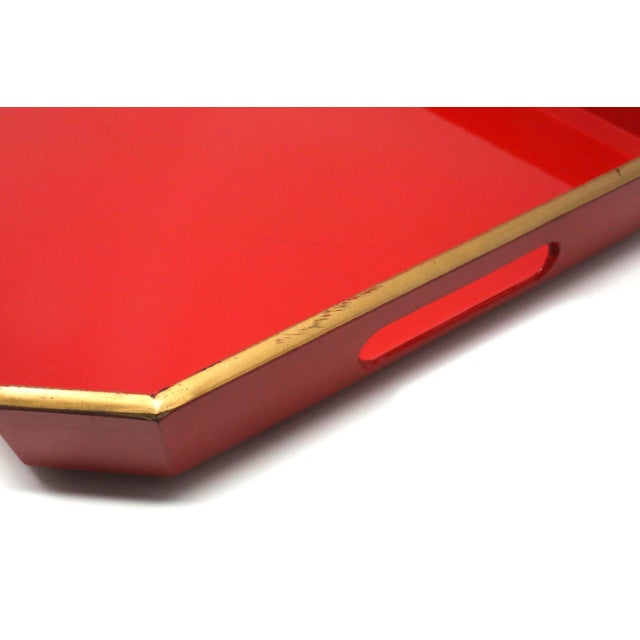 Red Vintage Japanese Red Lacquered Tray For Sale - Image 8 of 10