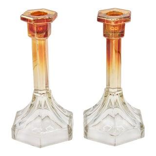Vintage Art Deco Carnival Glass Candlesticks - a Pair For Sale