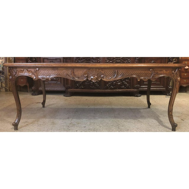 Antique French Exceptional Walnut Dining Table with Fine Carving, Circa 1870-1890.