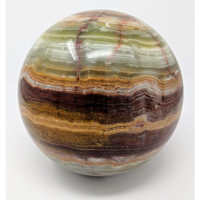 "Green Large 25"" Solid Onyx Sphere (Ball) Sculpture For Sale - Image 8 of 8"
