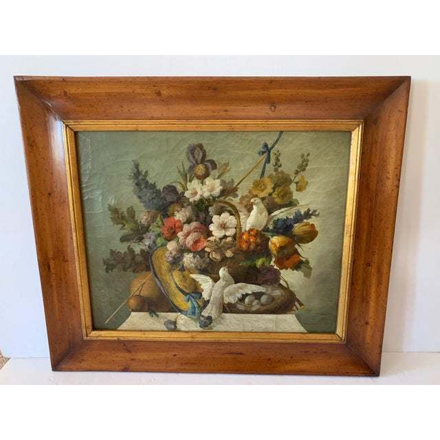 Still Life of Flower and Doves in Amazing Oak Frame For Sale - Image 13 of 13