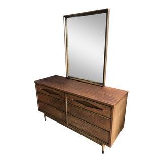 Mid-Century 6-Drawer Dresser W/ Mirror For Sale