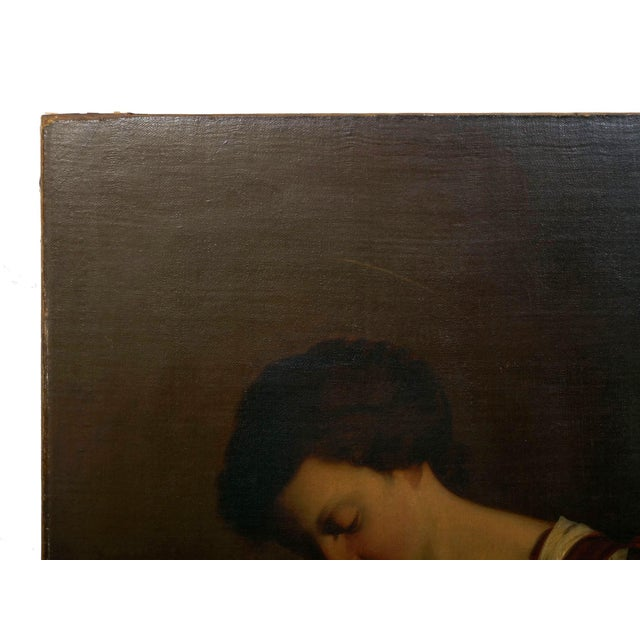 """""""Madonna & Child"""" 19th Century Copyist Oil Painting After Orazio Gentileschi For Sale - Image 6 of 13"""