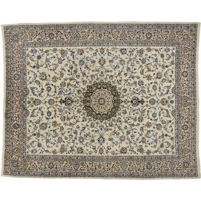 Mid 20th Century Vintage Persian Najafabad Rug With Light Colors - 9′9″ × 12′2″ For Sale - Image 5 of 6