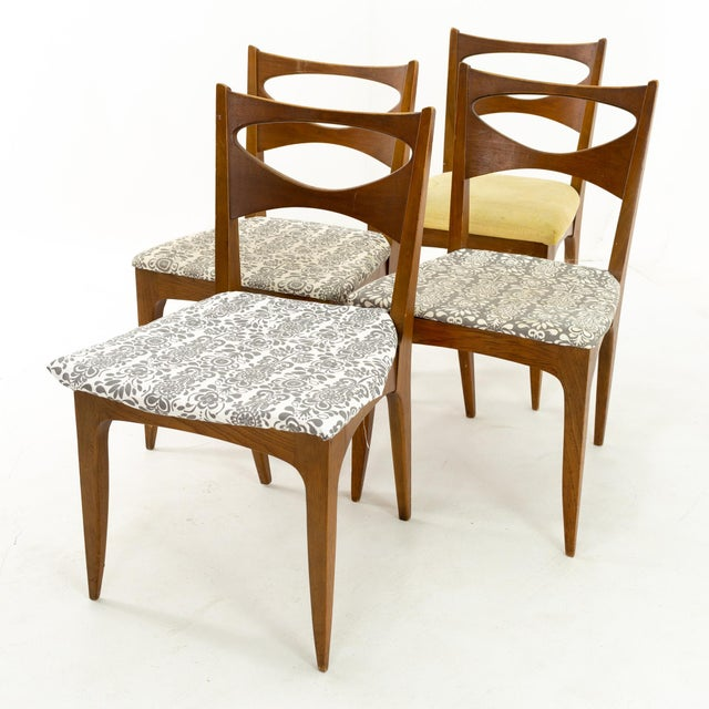 Mid-Century Modern John Van Koert for Drexel Profile Mid Century Walnut Dining Chairs - Set of 4 For Sale - Image 3 of 13