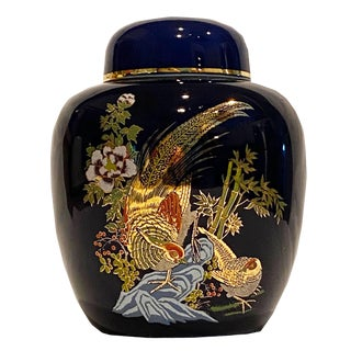 Vintage Chinoiserie-Style, Asian, Ceramic Lidded Jar in Dark Blue With Golden Pheasants For Sale