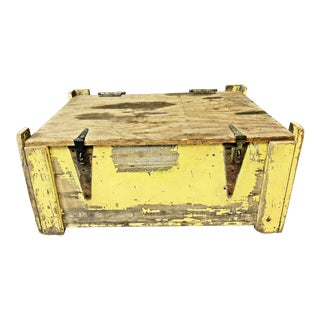 Vintage Industrial Yellow Painted Wood Crate - Coffee Table Size For Sale
