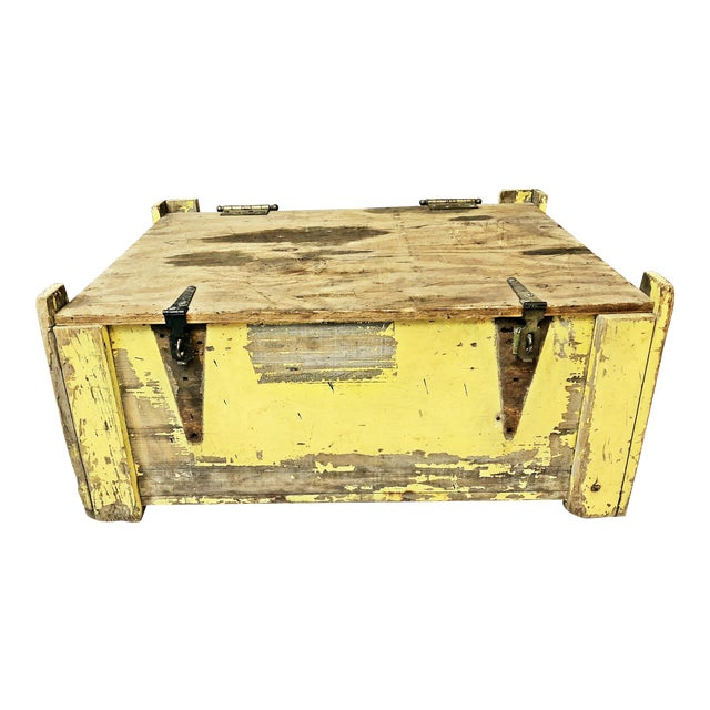 Vintage Industrial Yellow Painted Wood Crate