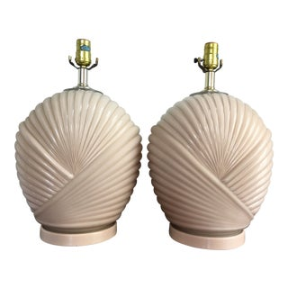 Vintage Palm Beach Style Sea Shell Table Lamps in Blush Pink- a Pair For Sale