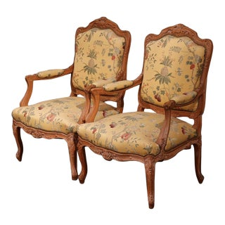 20th Century French Louis XV Carved Armchairs - a Pair For Sale