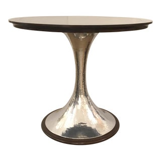 Modern Hammered Metal and Dark Wood Bistro/Bar Table For Sale