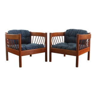 Jorgen Baekmark Spindle Barrel Chair Set of Two in Teak and Rich Blue For Sale