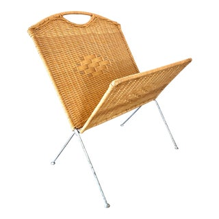 Mid Century Folding Wicker Magazine Holder For Sale