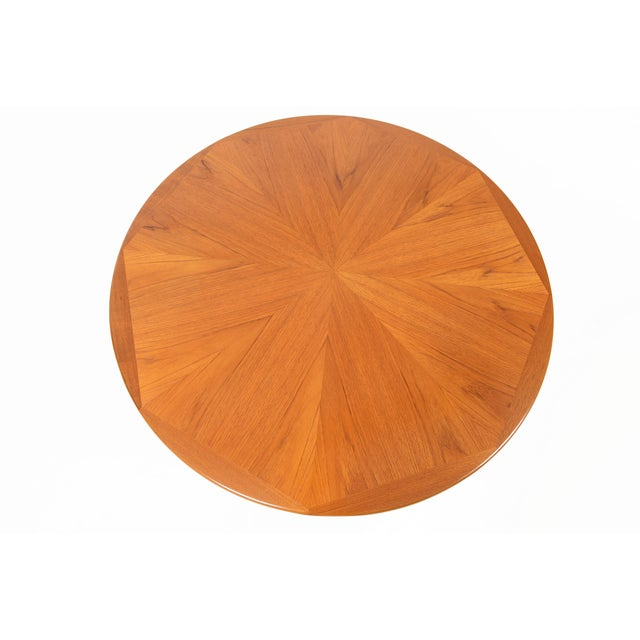 Danish Modern Round Starburst Teak Coffee Table - Image 6 of 9