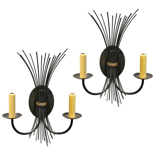 Black Pair of Vintage Iron Sconces For Sale - Image 8 of 8