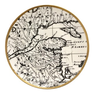 Vintage Fornasetti Style Italian Black White Map Plate For Sale