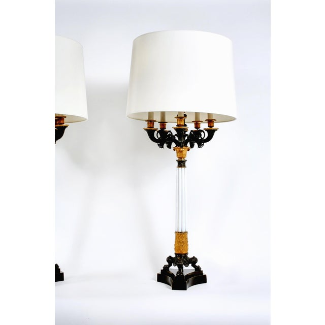 Gilt Bronze / Art Glass Candelabras Lamp - a Pair For Sale - Image 4 of 12