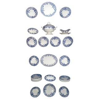45 Piece Set of Blue and White Creil et Montereau For Sale